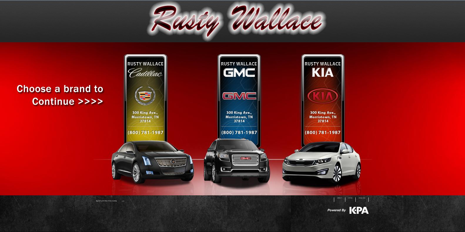 Rusty wallace cadillac gmc kia new used car dealer morristown tn used car dealership johnson city